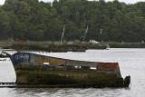 Le cimetière de bateaux de Kerhervy sur la rivière Le Blavet