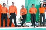 Une partie de l'équipe technique des trimarans Groupama