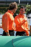 Franck Proffit, navigateur, et Franck Cammas, skipper