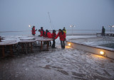 Night snow on the aft deck
