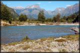 Rio Azul and Tres Monjas (Three Nuns) mountain range in the distance