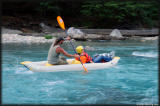 Piero continues on in a ducky (inflatable kayak).