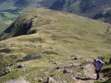 Looking down the Band on Bowfell