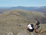 Descending north from summit of Bowfell, Skiddaw in the distance