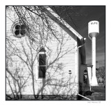 Church and water tower, Opie, KS