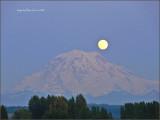 Spring Moonrise over Mt. Rainier