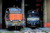 The BB63410 and the BB67268 having a rest at Avignon depot.