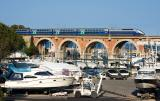 Viaduc de La Rague. A TGV Duplex heading to Nice.