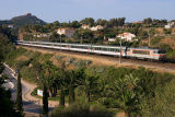 The BB22334 and a night-train coming from Strasbourg, near Agay.
