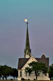 Moonrise over church steeple 2.