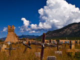 A view of the  Taos Pueblo Cemetary