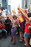 Spain Win the FIFA 2010 Soccer fans celebrate in Time Square NYC