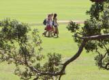 Schoolgirls in a park