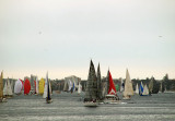 Dull day, coloured sails