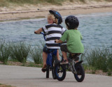 Two small cyclists