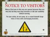 Warning in camping area