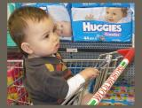 Charlie in the supermarket with disposable nappies