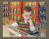 Charlie in the supermarket with chocolates