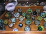 Shelf #7 - James Yaun, John Bridges, Ben Burton, Bryan Kitson, Kaj Beck and others, with assorted minerals