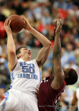 Carolina F Tyler Hansbrough leans back from under the basket to get a shot over Tech F J.T. Thompson
