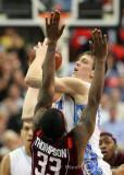 North Carolina F Hansbrough shoots over Virginia Tech F Thompson