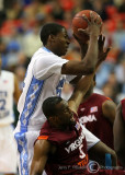 North Carolina F Davis corrals a rebound over Virginia Tech G Dorenzo Hudson
