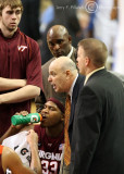 Virginia Tech Head Coach Seth Greenberg addresses his team during a thirty second timeout