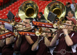 Virginia Tech Hokies Band plays during a break in the action