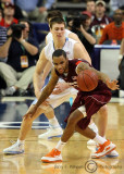 Hokies G Delaney works to regain possession after it was poked away by Tar Heels F Hansbrough