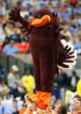 Virginia Tech Hokies Mascot HokieBird is hoisted aloft by the Cheerleading squad