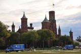 The Smithsonian Castle With Matching Trucks