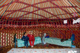 Inside a yurt