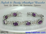 Amethyst Bracelet, Custom Gold Or Silver Amethyst Gem Stone Bracelets. BRC70