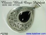 Antique Style Pendant, Black Onyx Gem Stone Pendant From kaisilver PG750