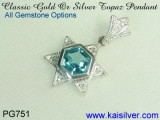 Topaz Pendant, Blue Topaz Pendant With Diamonds