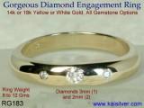Three Diamond Ring, RG183 Diamond Ring From Kaisilver