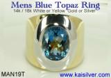 Mens Ring, MAN19T Blue Topaz Mens Ring From Kaisilver