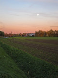 Moonrise over agricultural fields in Ahlen