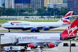 2008 - British Airways B747-436 G-BNLA and Virgin B747-41R G-VROC at MIA airline aviation stock photo #2307