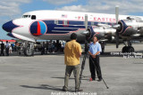 2008 - Carlos Gomez, co-owner of DC-7B N836D, being interviewed at the Open House stock photo #10039