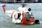 Early 70's - USCG Sikorsky HH-52A Sea Guard #CG-1383 helicopter water landing demonstration stock photo