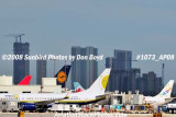 2008 - numerous airline tails at MIA with Brickell Avenue condos in the background aviation stock photo #1073