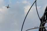 Airliner over the Unisphere, Flushing Meadow Park