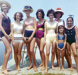 1963 - Irene, Linda High, Betty Warren, Linda Manson, Debbie Johns, Gloria Wolfe, Sandy Manson and her friend Laura