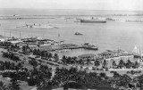 1935 - Bayfront Park, the Port of Miami, County Causeway, and Venetian Causeway with the Viking Airport hangar