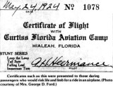 1924 - Certificate of Flight for pilot Andrew H. Heermance at the Curtiss Florida Aviation Camp, Hialeah