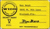 1960's - WIOD underground music club card