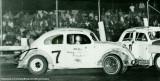 1967 - closeup of Ron Baker #7 racing a Volkswagen mini stock car at Hialeah Speedway
