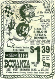 1966 - ad for Bonanza Sirloin Pit restaurant on Broward Boulevard in Ft. Lauderdale