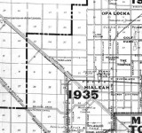 1925 - map depicting Hialeah in 1925 and projected growth of Miami and surrounding areas by 1935